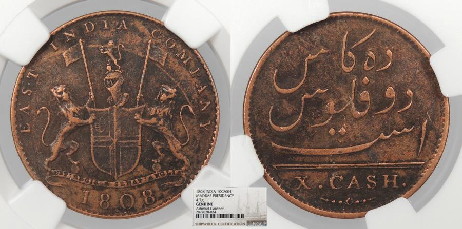 World Coins - INDIA: 1808 Admiral Gardner Treasure coin. 10 Cash NGC No Grade