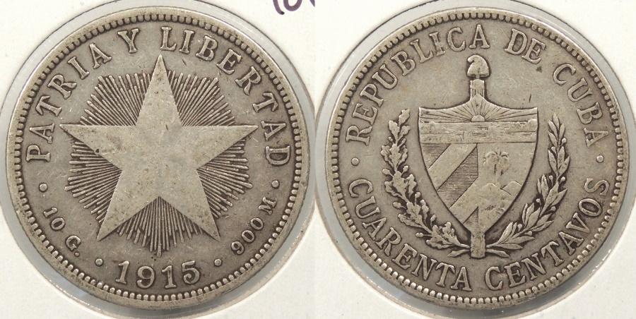 World Coins - CUBA: 1915 40 Centavos