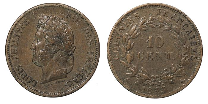 World Coins - FRENCH COLONIES Louis Philippe I 1843-A 10 Centimes VF