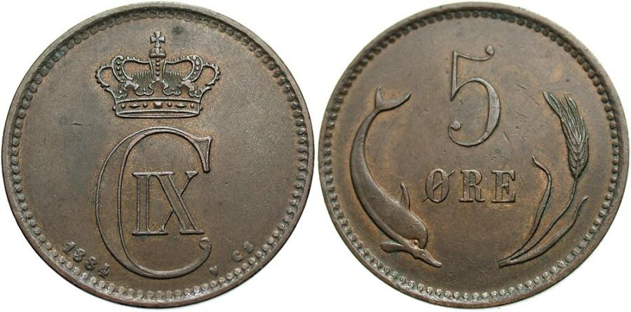 World Coins - DENMARK: 1884-CS V 5 Ore