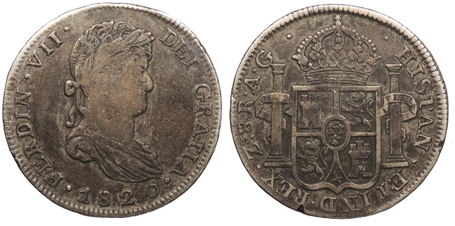 World Coins - MEXICO Zacatecas Royalists for Ferdinand VII 1820-Zs AG 8 Reales VF