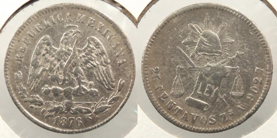 World Coins - MEXICO: 1876-Zs A 25 Centavos