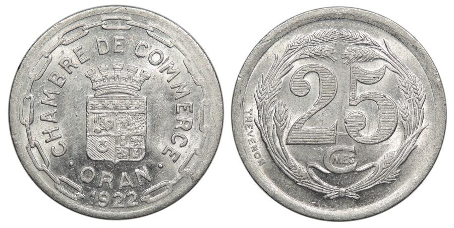 Algeria oran chambre de commerce 1922 25 centimes unc for Chambre de commerce algerienne