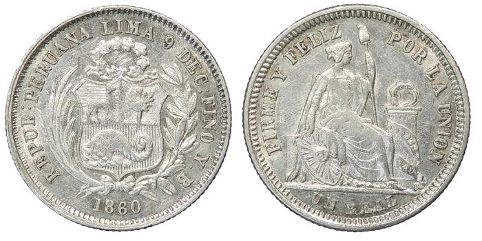 World Coins - PERU Republic 1860 Real AU