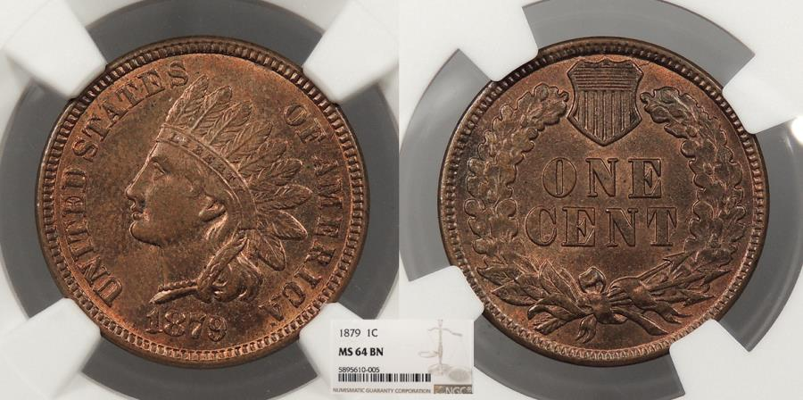US Coins - 1879 Indian Head 1 Cent NGC MS-64 BN