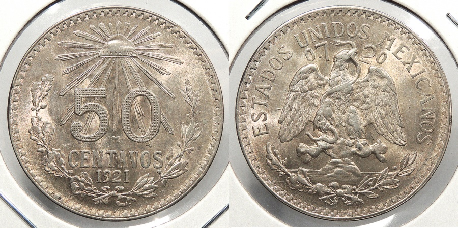 World Coins - MEXICO: 1921-Mo 50 Centavos