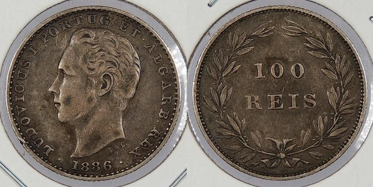 World Coins - PORTUGAL: 1886 100 Reis