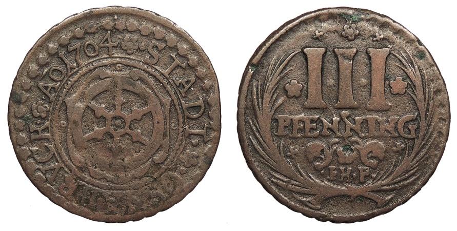 World Coins - GERMAN STATES Osnabruck Bishopric Karl of Lorraine 1704 3 Pfennig Near VF