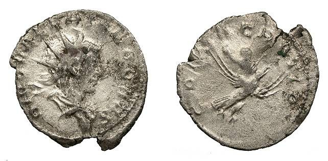 Ancient Coins - Divus Valerian II Died 255 A.D. Antoninianus Lugdunum Mint Good Fine