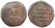 Ancient Coins - Anonymous, attributed to the joint reign of Basil II and Constantine VIII 976-1025 A.D. Follis Constantinople Mint? Good Fine