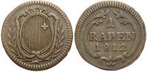 World Coins - SWISS CANTONS: Schwyz 1812 1 Rappen