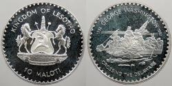 World Coins - LESOTHO: 1982 Washington crossing Delaware. 10 Maloti Proof