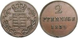 World Coins - GERMAN STATES: Saxe-Meiningen 1839 2 Pfennig