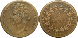 World Coins - FRENCH COLONIES: 1828-A 5 Centimes