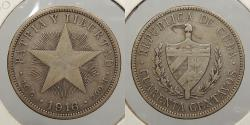 World Coins - CUBA: 1916 40 Centavos