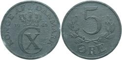 World Coins - DENMARK: 1945 5 Ore