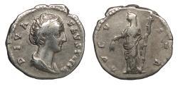 Ancient Coins - Faustina I, wife of Antoninus Pius 138-141 A.D. Denarius Rome Mint Good Fine