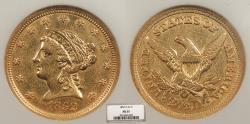 Us Coins - 1852 O Coronet 2 1/2 Dollars NGC AU-55