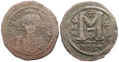 Ancient Coins - Justinian I 527-565 A.D. Follis Nicomedia Mint Good Fine