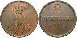 World Coins - GERMAN STATES: Hannover 1845-B 2 Pfennig