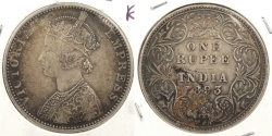 World Coins - INDIA: 1893-B 1 Rupee
