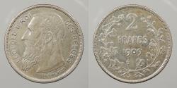 World Coins - BELGIUM: 1909 French legend. 2 Francs