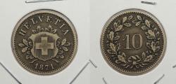 World Coins - SWITZERLAND: 1871 10 Rappen