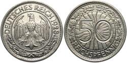 World Coins - GERMANY: 1928-A 50 Reichspfennig