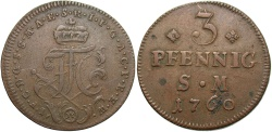World Coins - GERMAN STATES: Mainz Archbishopric 1760 3 Pfennig