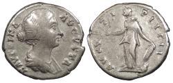 Ancient Coins - Faustina II, wife of Marcus Aurelius 145-176 A.D. Denarius Rome Mint Fine
