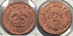 World Coins - MEXICO: Tetela Del Oro y Ocampo 1915 Restrike 2 Centavos