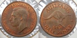 World Coins - AUSTRALIA: 1943(m) George VI Half Penny