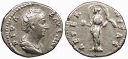 Ancient Coins - Diva Faustina, wife of Antoninus Pius Died 141 A.D. Denarius Rome Mint VF