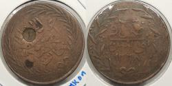 World Coins - TUNISIA: Tunis ND (1858) Countermark '1' on AH1268 (1851-1852) 6 Nasri Kharub