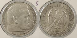 World Coins - GERMANY: 1935-A Hindenburg. 5 Mark