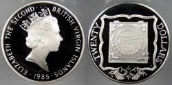 World Coins - BRITISH VIRGIN ISLANDS: 1985 Ivory Sundial. 20 Dollars Proof