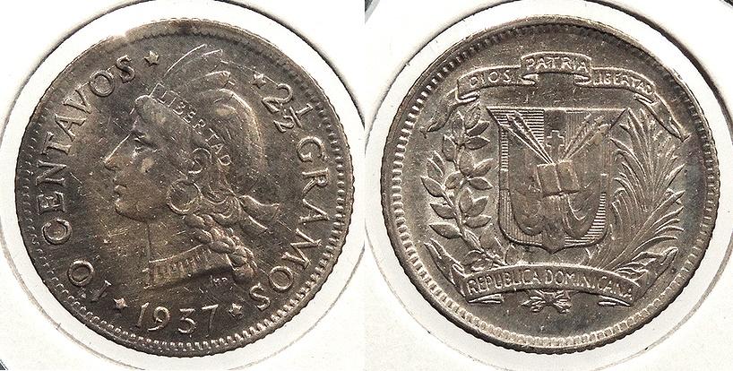 World Coins - DOMINICAN REPUBLIC: 1937 10 Centavos