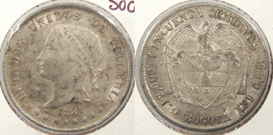World Coins - COLOMBIA: 1881-BOGOTA 50 Centavos