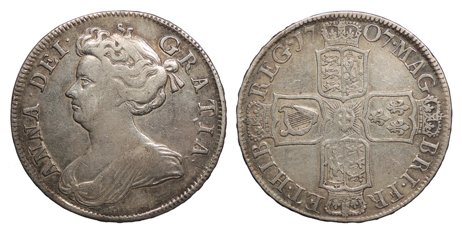 World Coins - GREAT BRITAIN Anne 1707-SEPTIMO Halfcrown Good VF