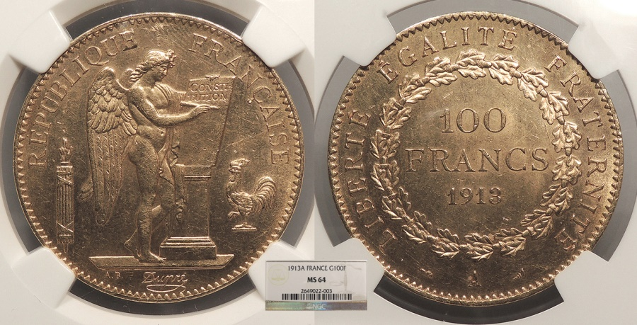 World Coins - FRANCE 1913-A 100 Francs NGC MS-64