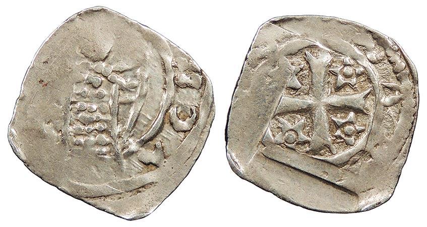 World Coins - AUSTRIAN / GERMAN STATES Carinthia (Kärnten) St. Veit Duchy Bernhard von Spanheim 1202-1256 Vierschlagpfennig (square Pfennig)(klippe)   EF