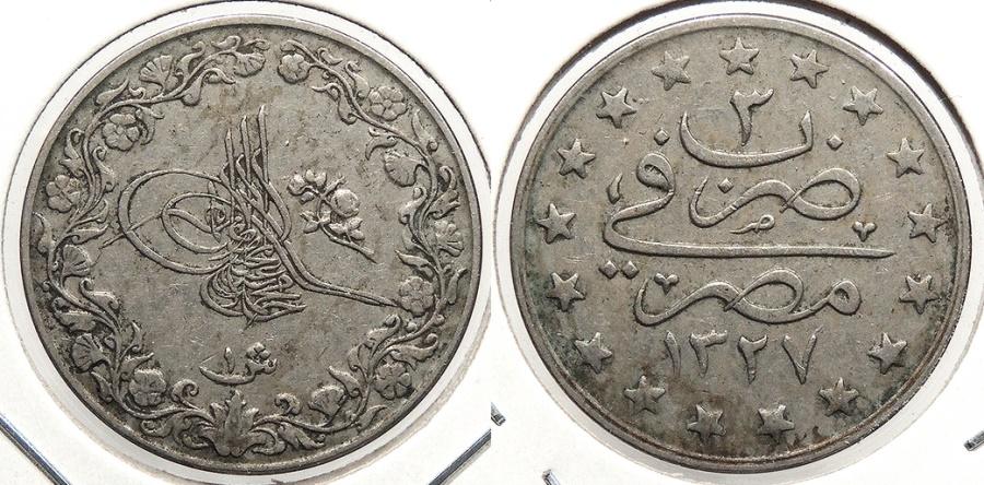 World Coins - EGYPT: AH1327 Yr3 (1911) Key date Qirsh