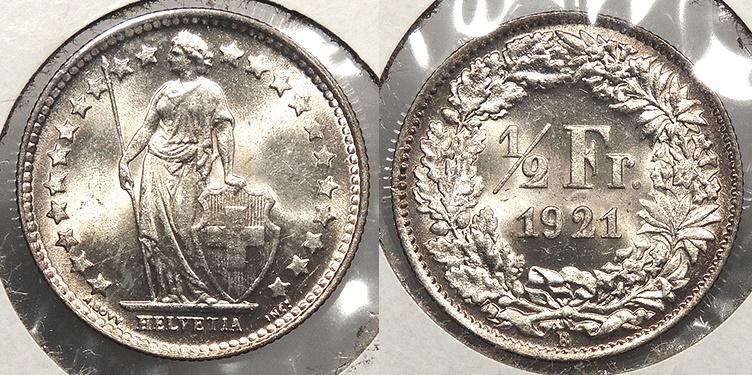 World Coins - SWITZERLAND: 1921-B Choice BU 1/2 Franc