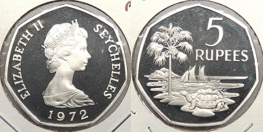 World Coins - SEYCHELLES: 1972 Proof 5 Rupee