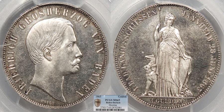World Coins - GERMAN STATES Baden-Durlach Friedrich I, Grand Duke 1863 Gulden (2/3 Thaler) PCGS MS-65