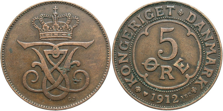 World Coins - DENMARK: 1912 5 Ore