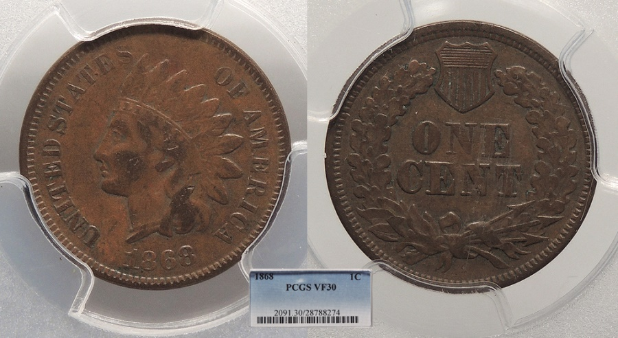 US Coins - 1868  Indian Head 1 Cent  PCGS VF-30