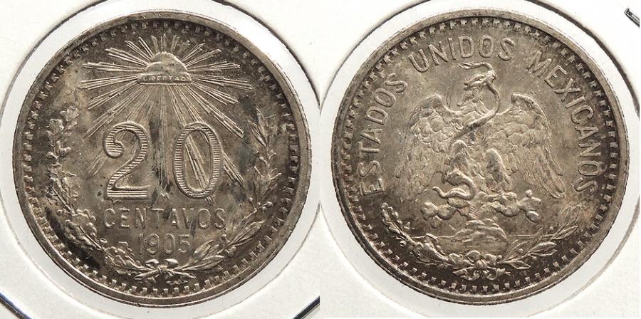 World Coins - MEXICO: 1905-Mo 20 Centavos