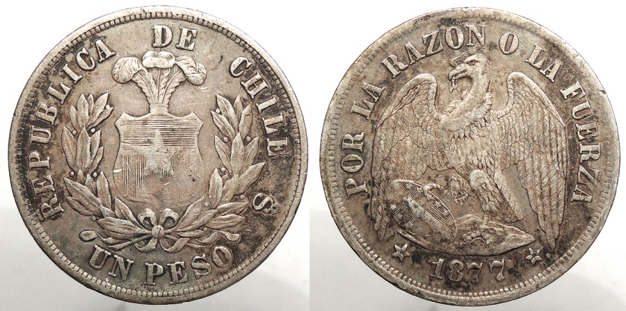 World Coins - CHILE: 1877-So Peso