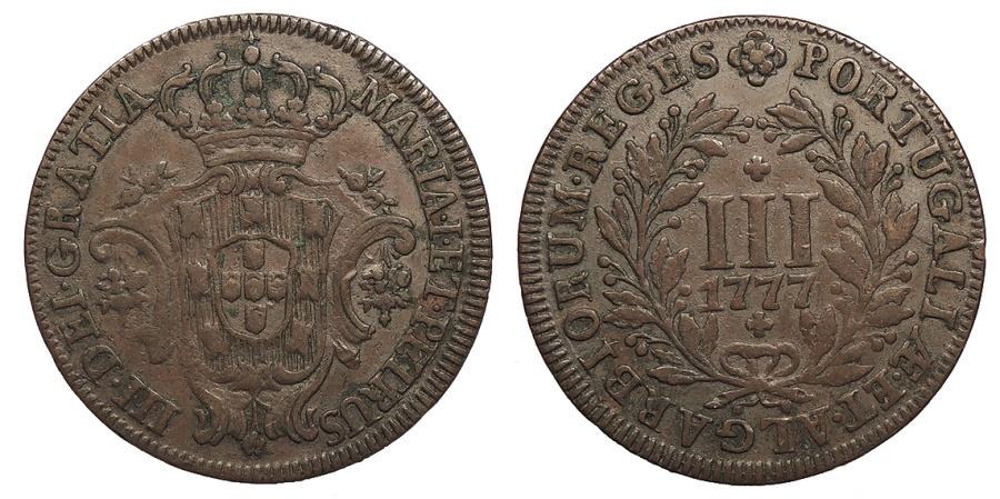 World Coins - PORTUGAL D. Maria I e D. Pedro III (Maria I & Pedro III) 1777 3 Reis EF